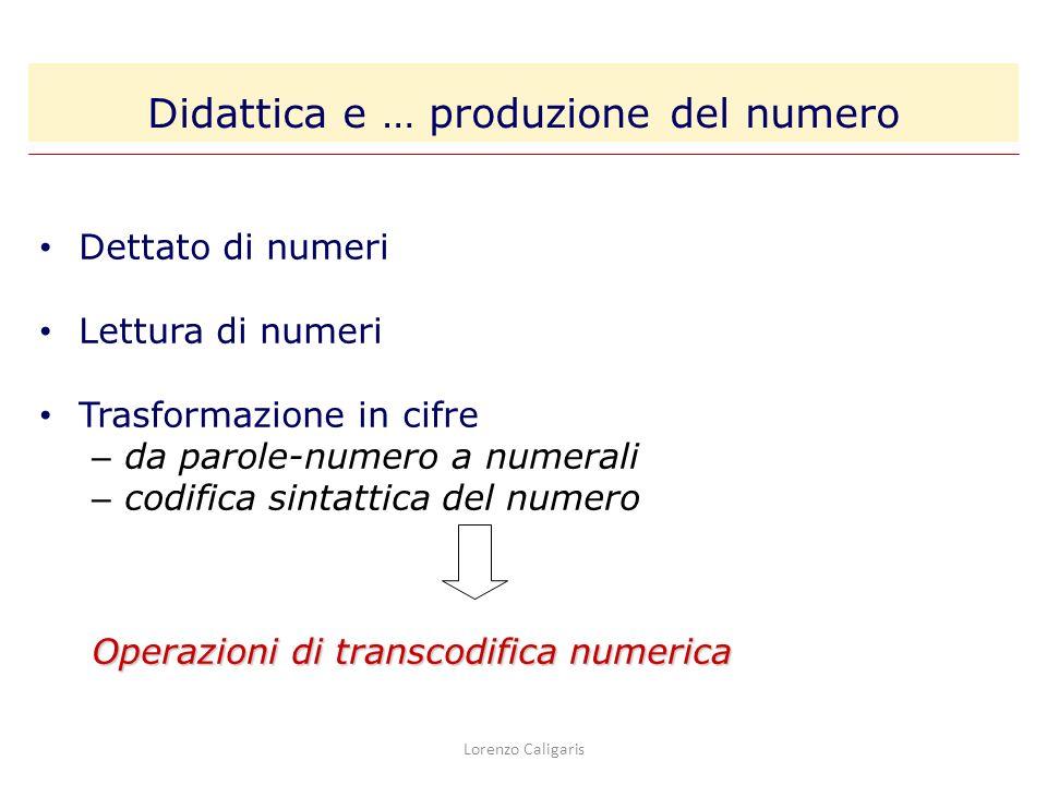 Lorenzo Caligaris Dettato di numeri Lettura di numeri Trasformazione in cifre – da parole-numero a numerali – codifica sintattica del numero Operazion