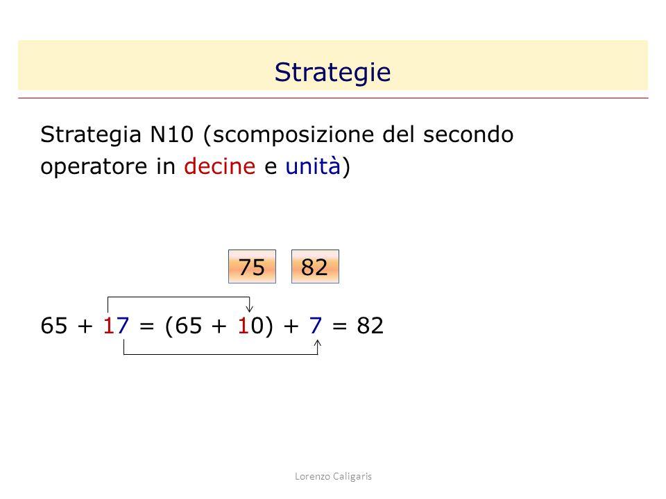 Strategia N10 (scomposizione del secondo operatore in decine e unità) 65 + 17 = (65 + 10) + 7 = 82 Lorenzo Caligaris 75 Strategie 82