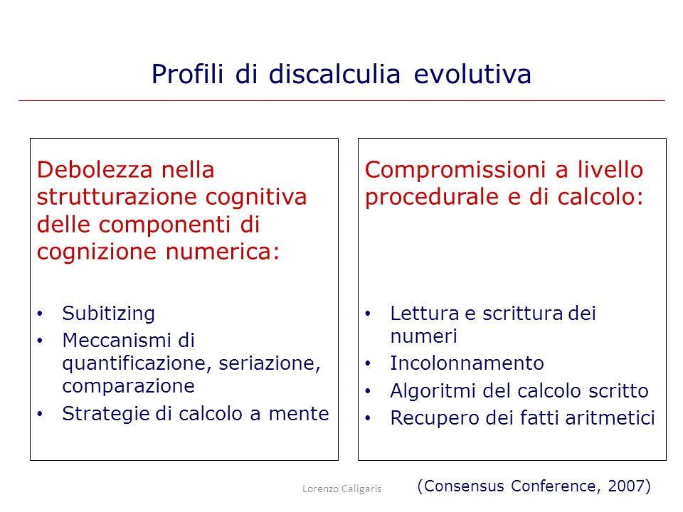 Debolezza nella strutturazione cognitiva delle componenti di cognizione numerica: Subitizing Meccanismi di quantificazione, seriazione, comparazione S