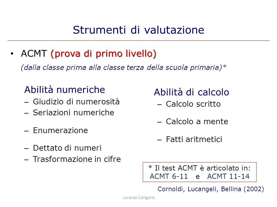 (prova di primo livello) ACMT (prova di primo livello) (dalla classe prima alla classe terza della scuola primaria)* Abilità numeriche – Giudizio di n