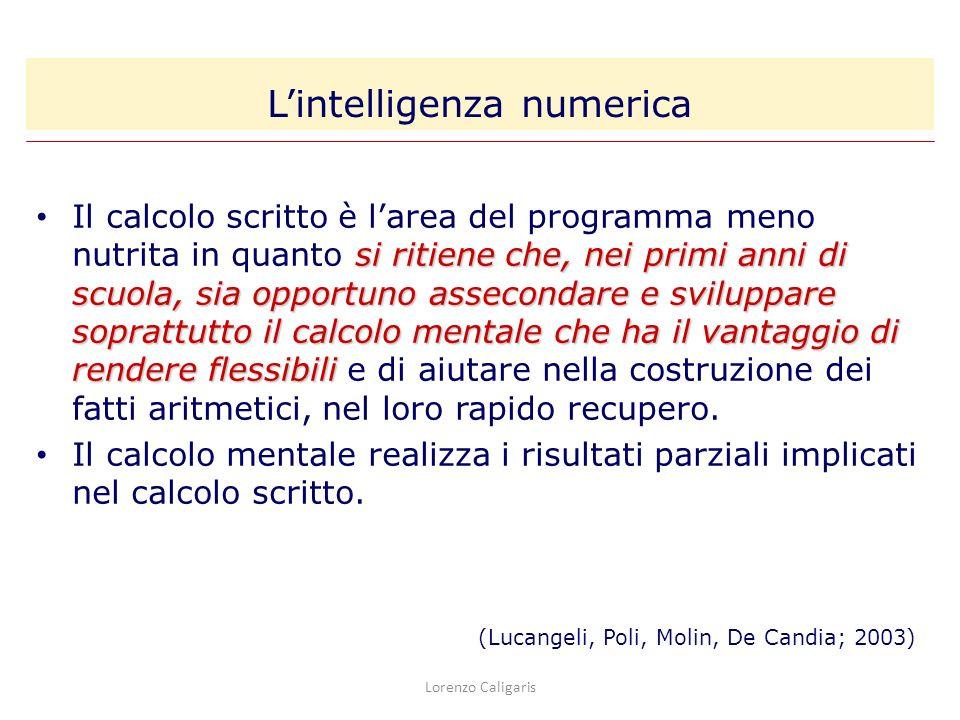 Lorenzo Caligaris si ritiene che, nei primi anni di scuola, sia opportuno assecondare e sviluppare soprattutto il calcolo mentale che ha il vantaggio