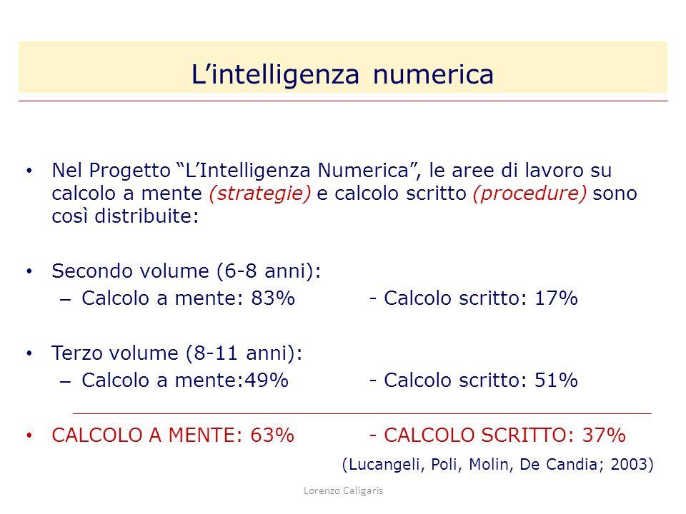Lorenzo Caligaris Nel Progetto LIntelligenza Numerica, le aree di lavoro su calcolo a mente (strategie) e calcolo scritto (procedure) sono così distri