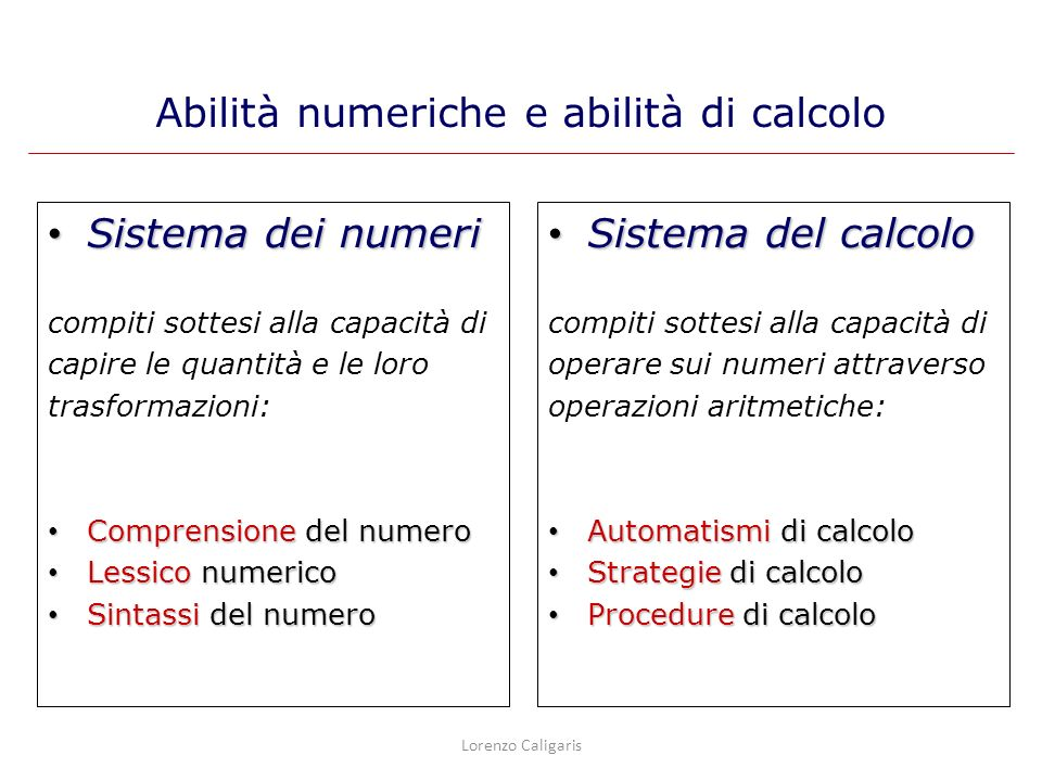 Ai fatti aritmetici si accede senza eseguire gli algoritmi di soluzione: Tabelline Calcoli semplici Risultati memorizzati Automatismi di calcolo Lorenzo Caligaris