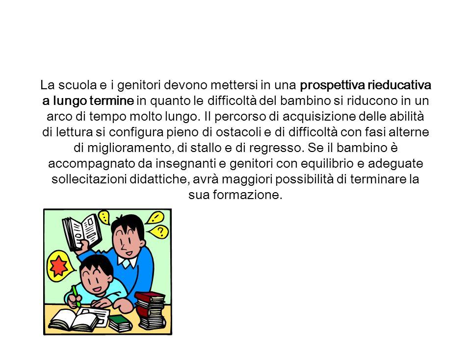La scuola e i genitori devono mettersi in una prospettiva rieducativa a lungo termine in quanto le difficoltà del bambino si riducono in un arco di te