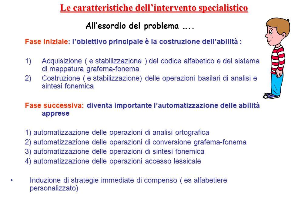 Le caratteristiche dellintervento specialistico Fase iniziale: lobiettivo principale è la costruzione dellabilità : 1) Acquisizione ( e stabilizzazion