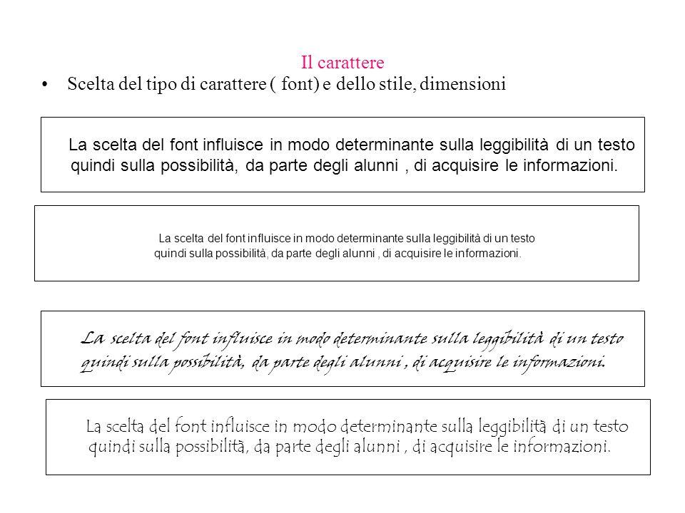 Il carattere Scelta del tipo di carattere ( font) e dello stile, dimensioni La scelta del font influisce in modo determinante sulla leggibilità di un