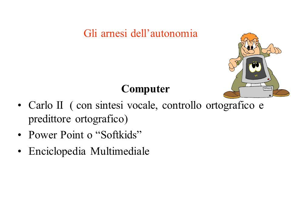 Gli arnesi dellautonomia Computer Carlo II ( con sintesi vocale, controllo ortografico e predittore ortografico) Power Point o Softkids Enciclopedia M