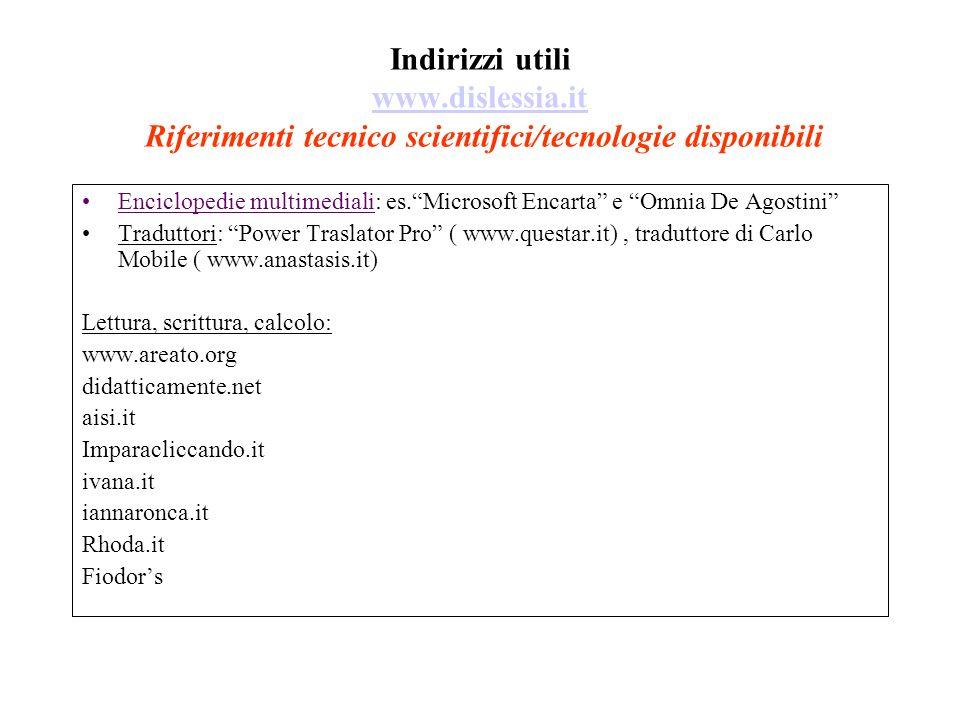 Indirizzi utili www.dislessia.it Riferimenti tecnico scientifici/tecnologie disponibili www.dislessia.it Enciclopedie multimediali: es.Microsoft Encar