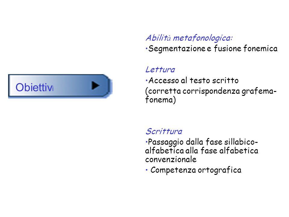 Abilit à metafonologica: Segmentazione e fusione fonemica Lettura Accesso al testo scritto (corretta corrispondenza grafema- fonema) Scrittura Passagg