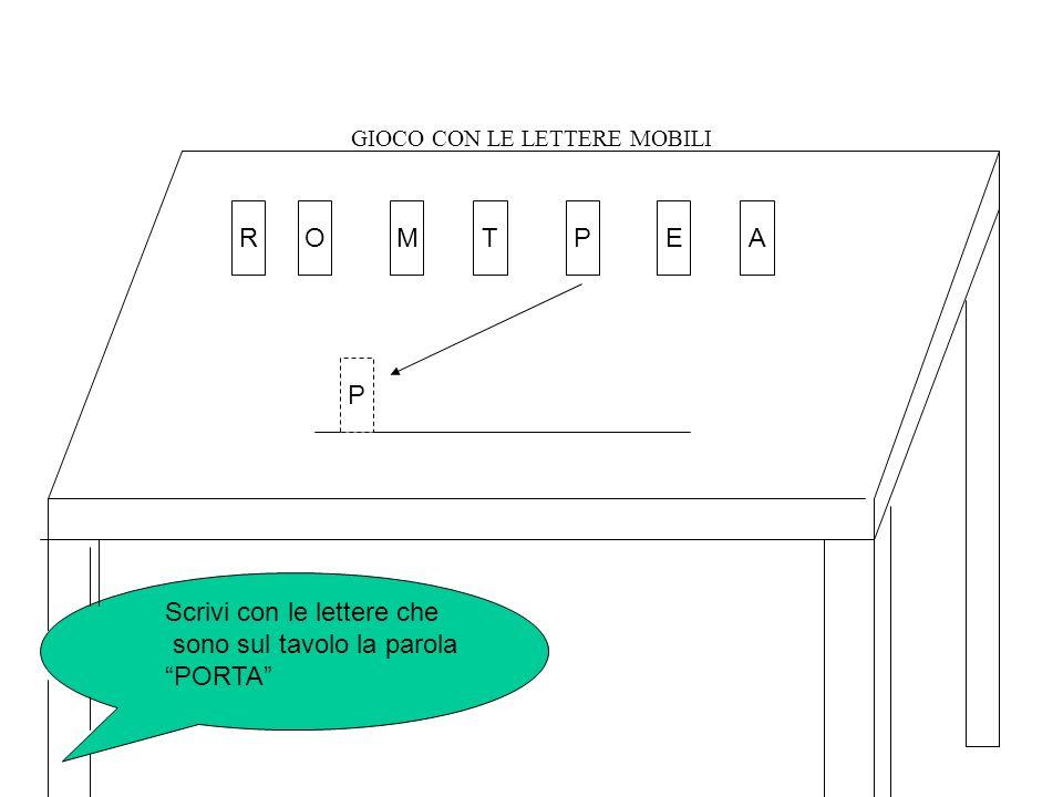 GIOCO CON LE LETTERE MOBILI OMTPAER Scrivi con le lettere che sono sul tavolo la parola PORTA P