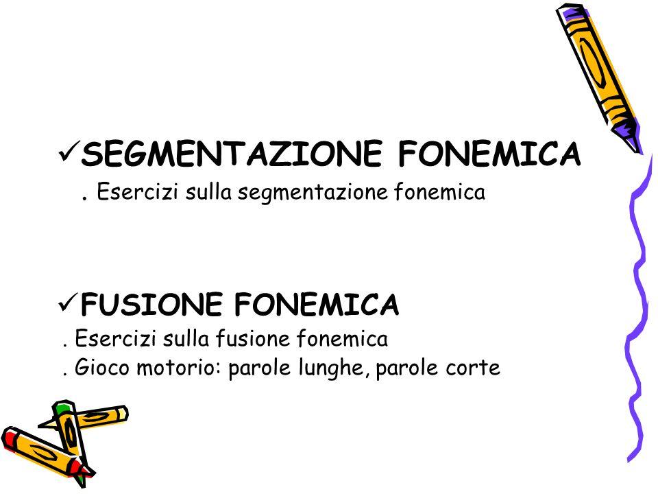 SEGMENTAZIONE FONEMICA. Esercizi sulla segmentazione fonemica FUSIONE FONEMICA. Esercizi sulla fusione fonemica. Gioco motorio: parole lunghe, parole