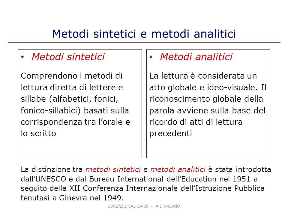 Metodi sintetici e metodi analitici Metodi sintetici Comprendono i metodi di lettura diretta di lettere e sillabe (alfabetici, fonici, fonico-sillabic