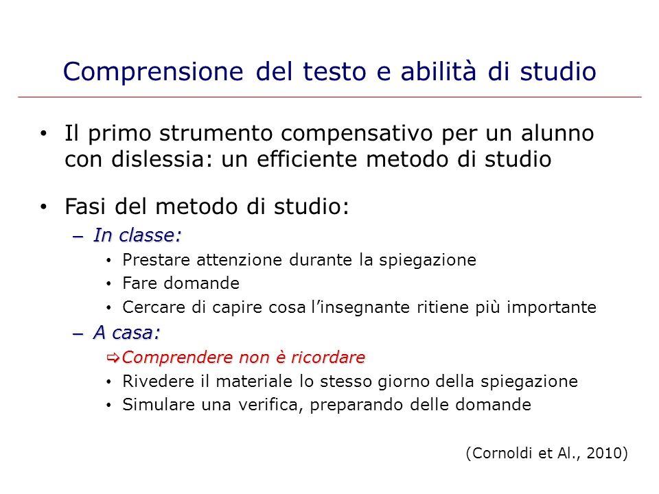 Il primo strumento compensativo per un alunno con dislessia: un efficiente metodo di studio Fasi del metodo di studio: – In classe: Prestare attenzion