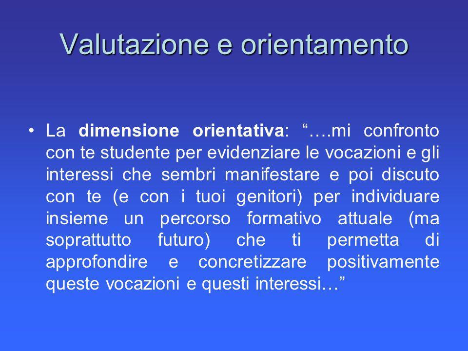 Valutazione e orientamento La dimensione orientativa: ….mi confronto con te studente per evidenziare le vocazioni e gli interessi che sembri manifesta