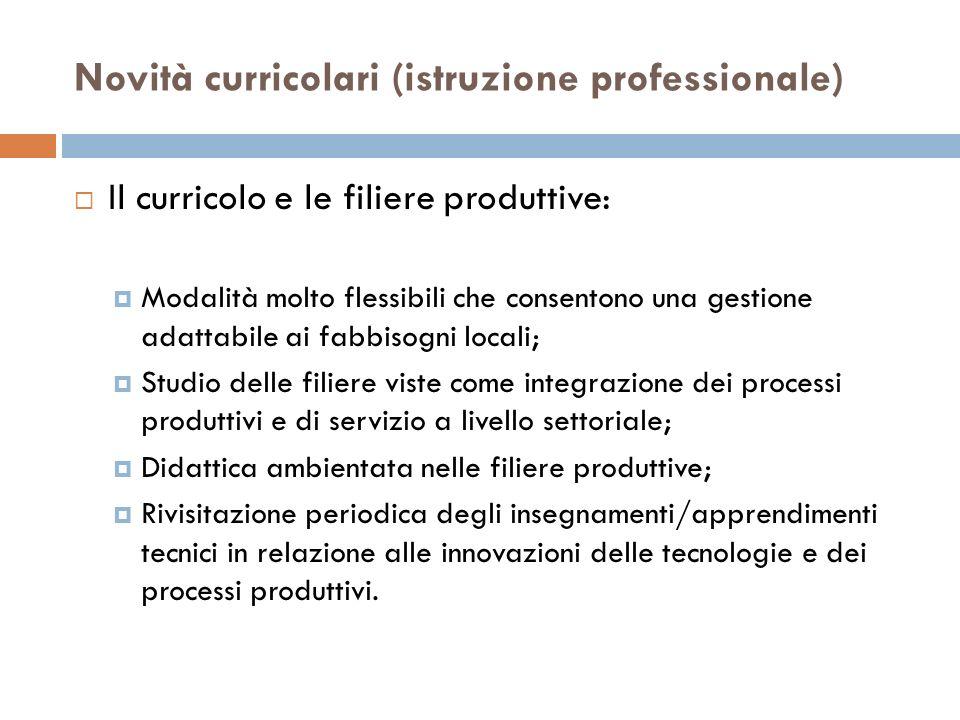 Novità curricolari (istruzione professionale) Il curricolo e le filiere produttive: Modalità molto flessibili che consentono una gestione adattabile a