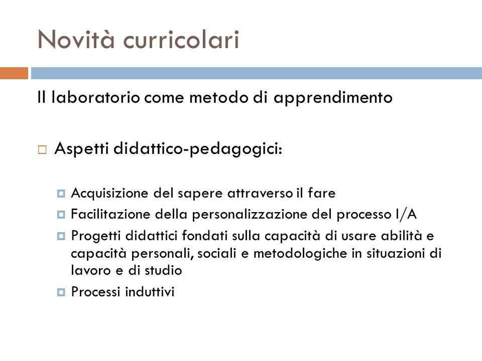 Novità curricolari Il laboratorio come metodo di apprendimento Aspetti didattico-pedagogici: Acquisizione del sapere attraverso il fare Facilitazione