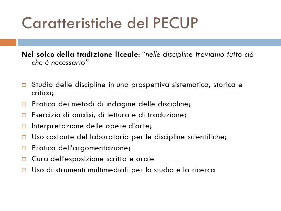 Caratteristiche del PECUP Nel solco della tradizione liceale: nelle discipline troviamo tutto ciò che è necessario Studio delle discipline in una pros