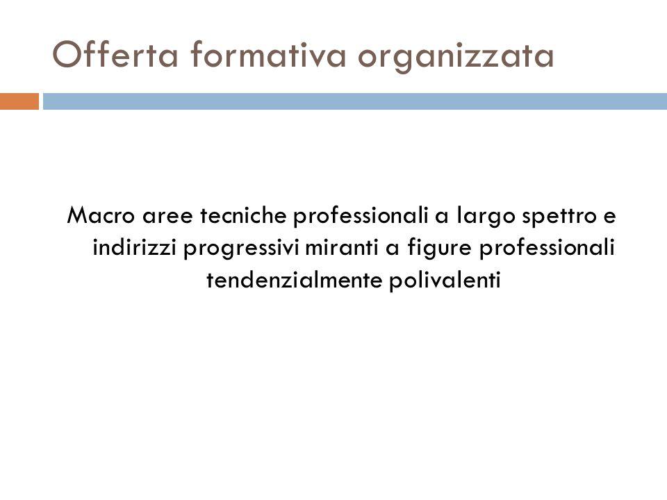 Offerta formativa organizzata Macro aree tecniche professionali a largo spettro e indirizzi progressivi miranti a figure professionali tendenzialmente