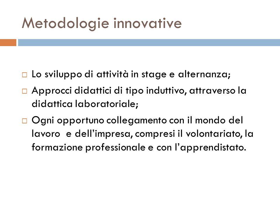 Metodologie innovative Lo sviluppo di attività in stage e alternanza; Approcci didattici di tipo induttivo, attraverso la didattica laboratoriale; Ogn