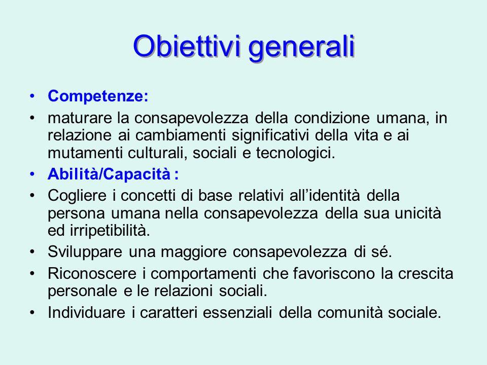 Obiettivi generali Competenze: maturare la consapevolezza della condizione umana, in relazione ai cambiamenti significativi della vita e ai mutamenti culturali, sociali e tecnologici.