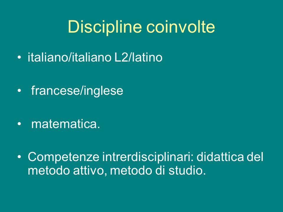 Discipline coinvolte italiano/italiano L2/latino francese/inglese matematica. Competenze intrerdisciplinari: didattica del metodo attivo, metodo di st