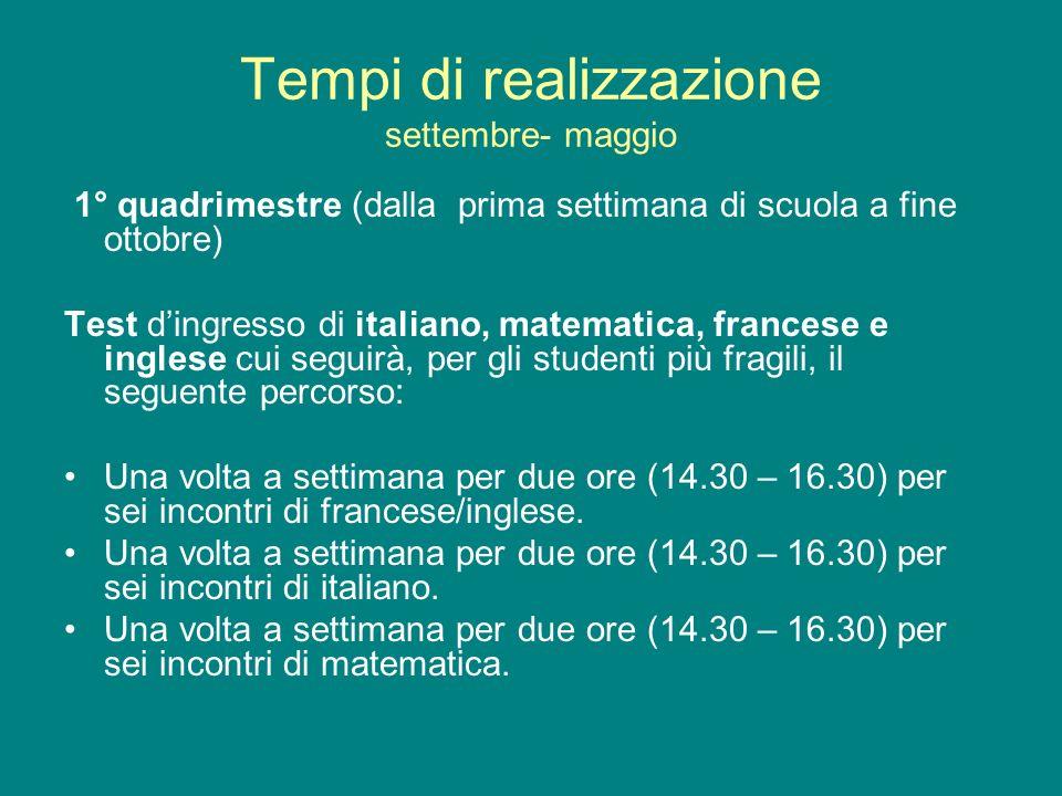 Tempi di realizzazione settembre- maggio 1° quadrimestre (dalla prima settimana di scuola a fine ottobre) Test dingresso di italiano, matematica, fran
