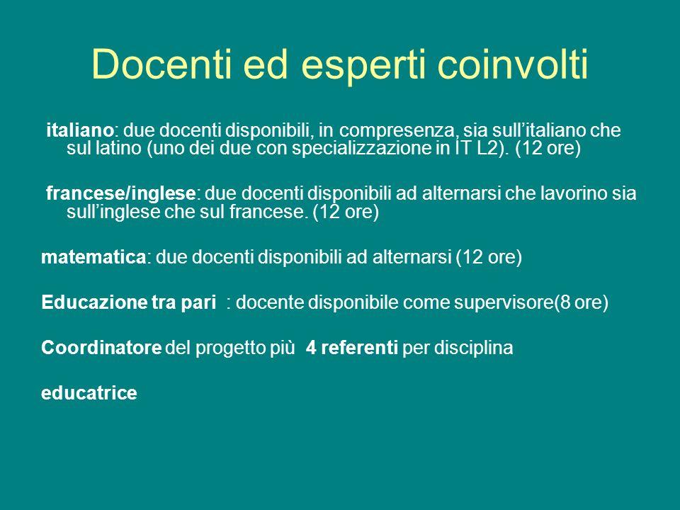 Docenti ed esperti coinvolti italiano: due docenti disponibili, in compresenza, sia sullitaliano che sul latino (uno dei due con specializzazione in IT L2).