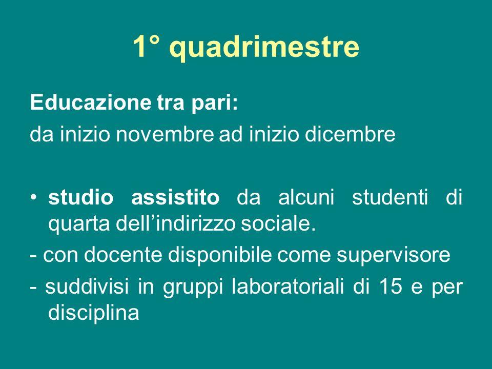 1° quadrimestre Educazione tra pari: da inizio novembre ad inizio dicembre studio assistito da alcuni studenti di quarta dellindirizzo sociale.