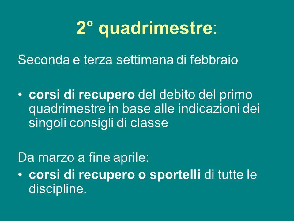2° quadrimestre: Seconda e terza settimana di febbraio corsi di recupero del debito del primo quadrimestre in base alle indicazioni dei singoli consig