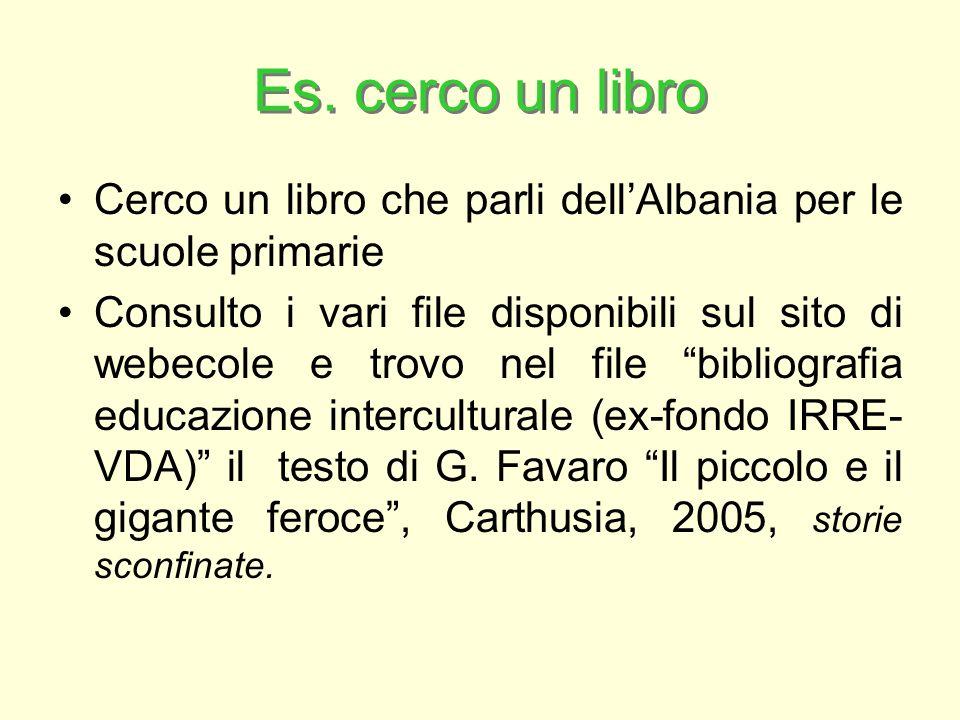 Es. cerco un libro Cerco un libro che parli dellAlbania per le scuole primarie Consulto i vari file disponibili sul sito di webecole e trovo nel file