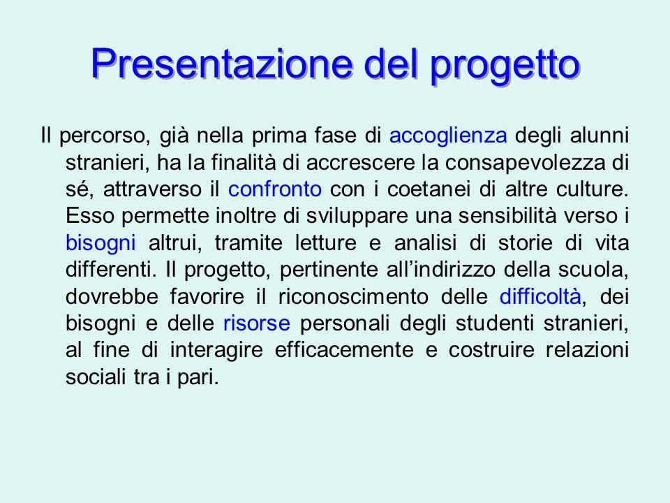 Presentazione del progetto Il percorso, già nella prima fase di accoglienza degli alunni stranieri, ha la finalità di accrescere la consapevolezza di sé, attraverso il confronto con i coetanei di altre culture.