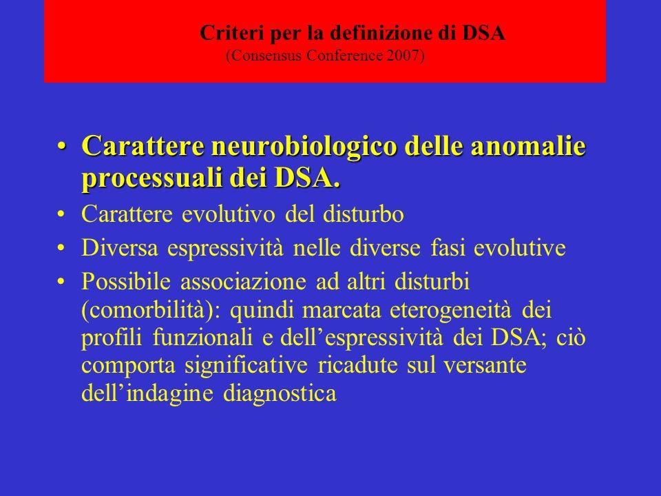 Criteri per la definizione di DSA (Consensus Conference 2007) Carattere neurobiologico delle anomalie processuali dei DSA.Carattere neurobiologico delle anomalie processuali dei DSA.