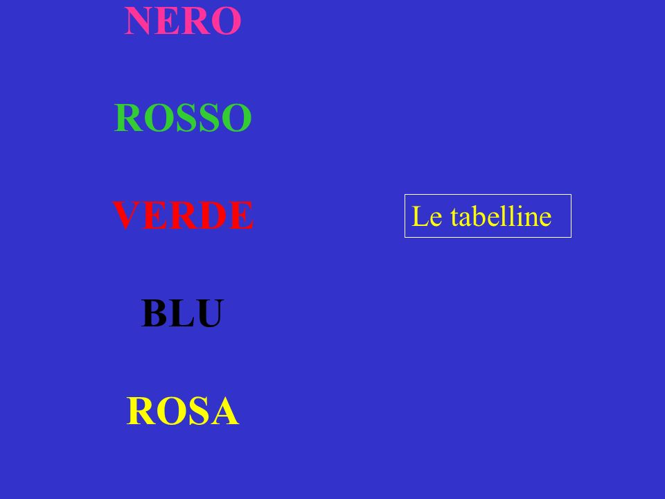 NERO ROSSO VERDE BLU ROSA Le tabelline