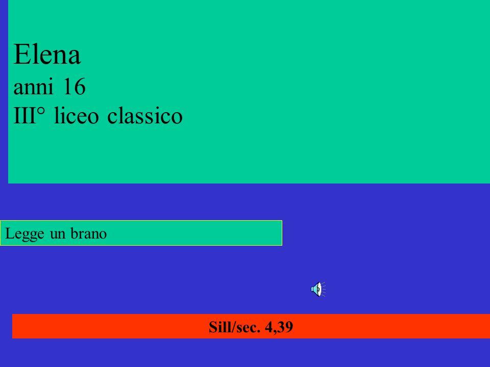 Elena anni 16 III° liceo classico Sill/sec. 4,39 Legge un brano