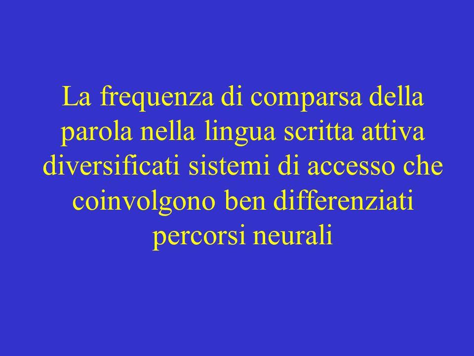 La frequenza di comparsa della parola nella lingua scritta attiva diversificati sistemi di accesso che coinvolgono ben differenziati percorsi neurali
