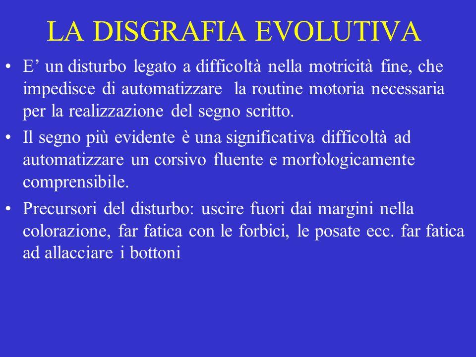 LA DISGRAFIA EVOLUTIVA E un disturbo legato a difficoltà nella motricità fine, che impedisce di automatizzare la routine motoria necessaria per la realizzazione del segno scritto.