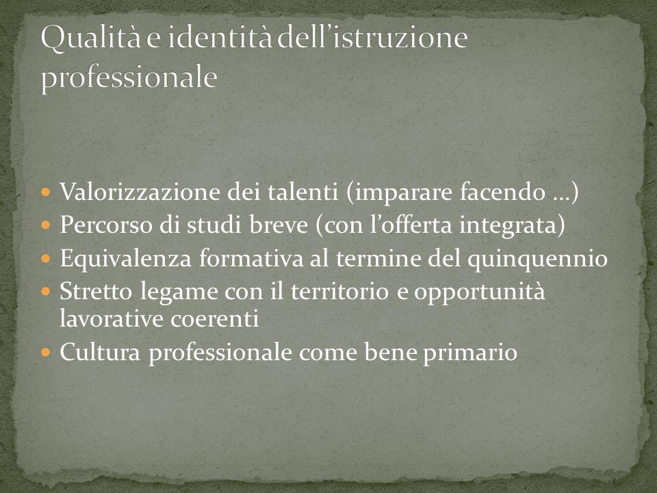 Valorizzazione dei talenti (imparare facendo …) Percorso di studi breve (con lofferta integrata) Equivalenza formativa al termine del quinquennio Stretto legame con il territorio e opportunità lavorative coerenti Cultura professionale come bene primario