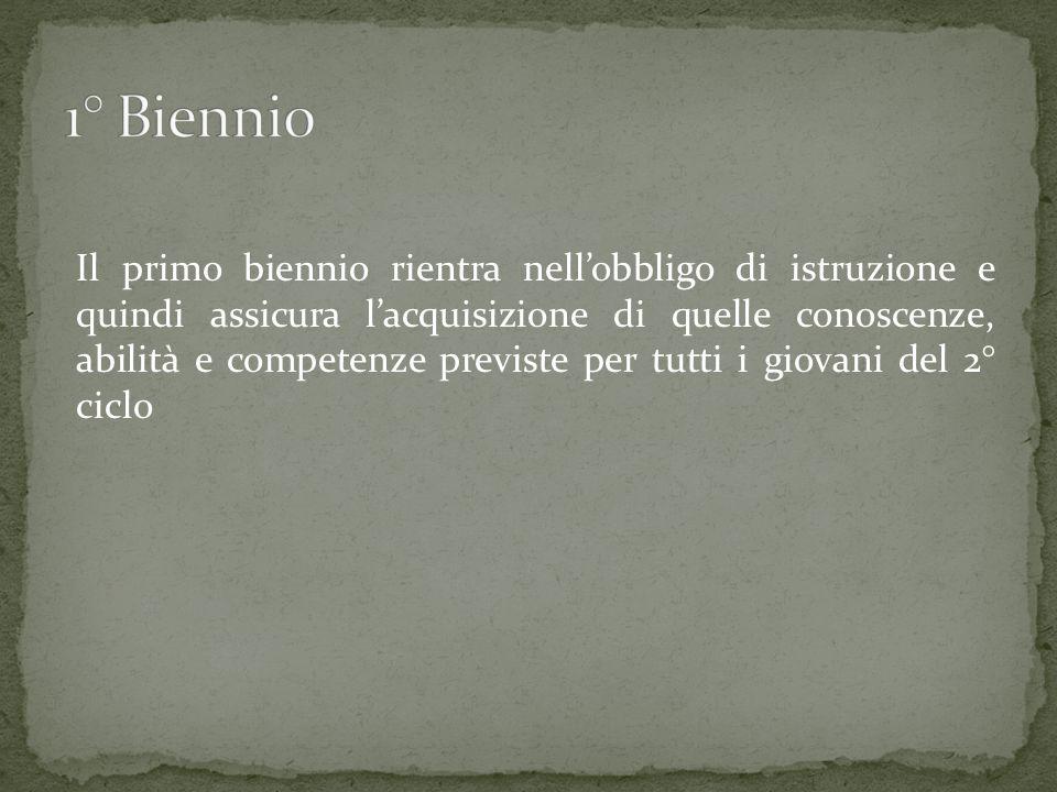 Il secondo biennio prevede lapprofondimento e lo sviluppo delle conoscenze tipiche dellindirizzo.