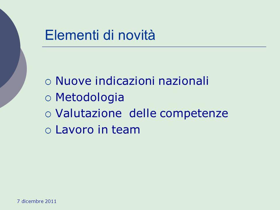 Elementi di novità Nuove indicazioni nazionali Metodologia Valutazione delle competenze Lavoro in team