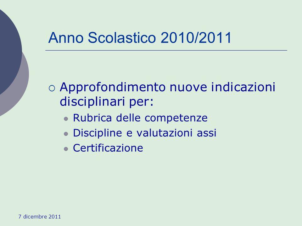 7 dicembre 2011 Anno Scolastico 2010/2011 Approfondimento nuove indicazioni disciplinari per: Rubrica delle competenze Discipline e valutazioni assi Certificazione