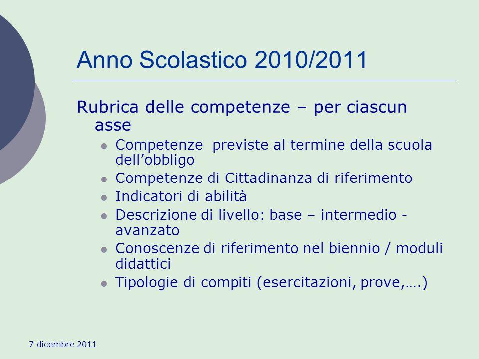 7 dicembre 2011 Anno Scolastico 2010/2011 Rubrica delle competenze – per ciascun asse Competenze previste al termine della scuola dellobbligo Competen