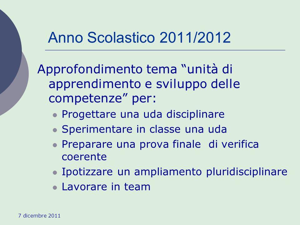 7 dicembre 2011 Anno Scolastico 2011/2012 Approfondimento tema unità di apprendimento e sviluppo delle competenze per: Progettare una uda disciplinare