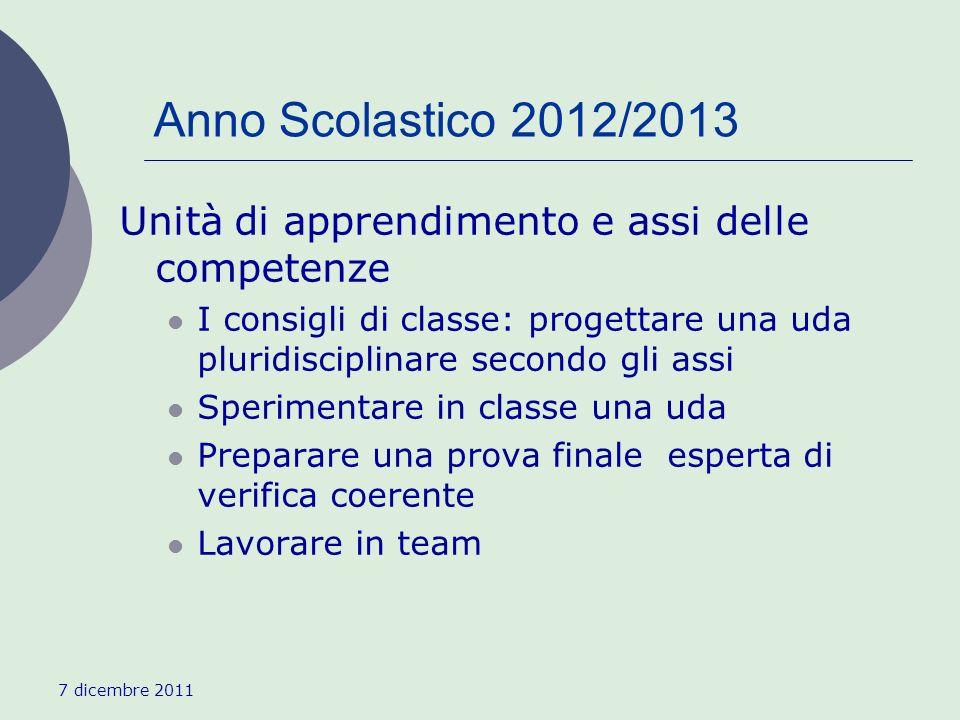 7 dicembre 2011 Anno Scolastico 2012/2013 Unità di apprendimento e assi delle competenze I consigli di classe: progettare una uda pluridisciplinare se
