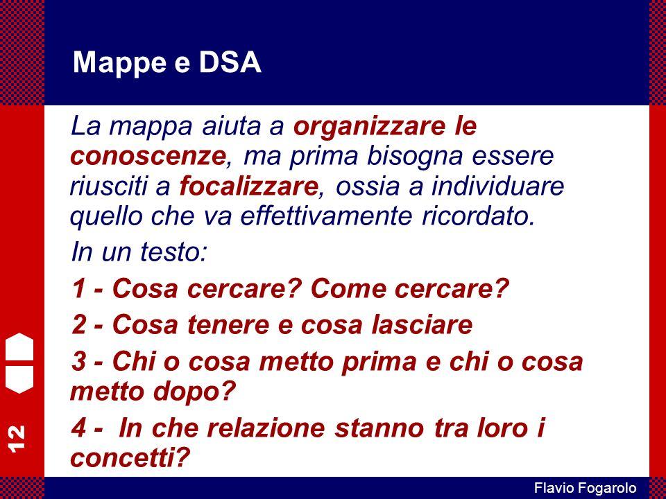 12 Flavio Fogarolo Mappe e DSA La mappa aiuta a organizzare le conoscenze, ma prima bisogna essere riusciti a focalizzare, ossia a individuare quello