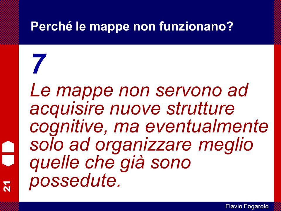 21 Flavio Fogarolo Perché le mappe non funzionano? 7 Le mappe non servono ad acquisire nuove strutture cognitive, ma eventualmente solo ad organizzare