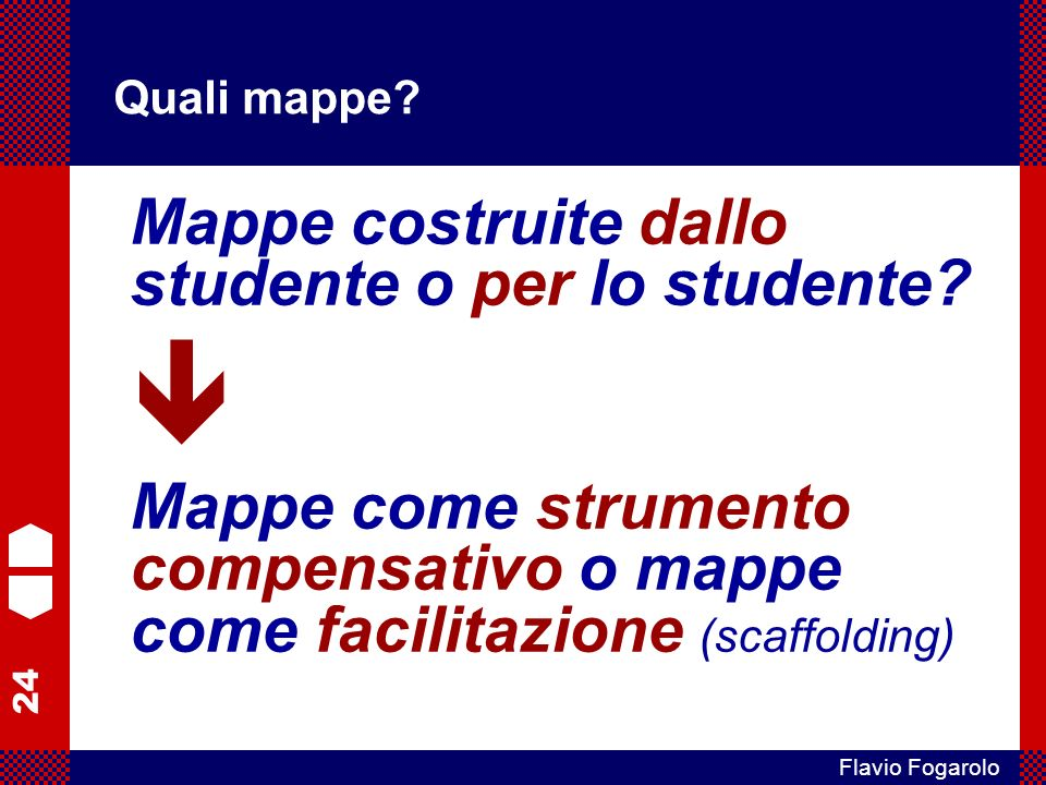 24 Flavio Fogarolo Quali mappe? Mappe costruite dallo studente o per lo studente? Mappe come strumento compensativo o mappe come facilitazione (scaffo