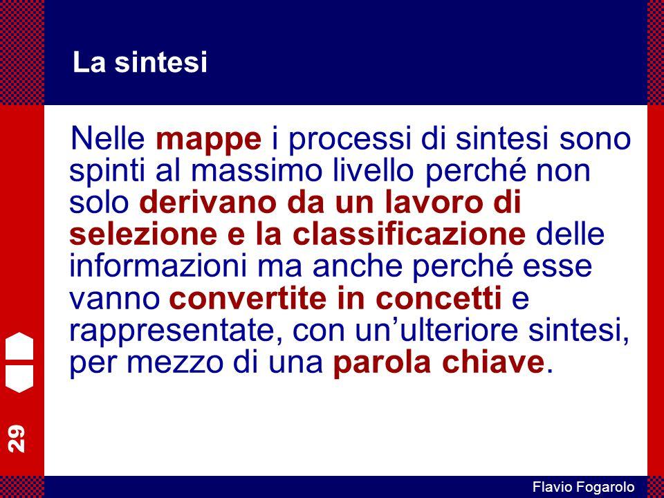 29 Flavio Fogarolo La sintesi Nelle mappe i processi di sintesi sono spinti al massimo livello perché non solo derivano da un lavoro di selezione e la