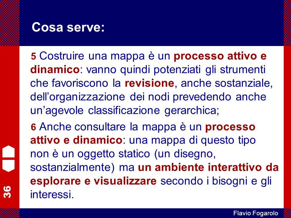 36 Flavio Fogarolo Cosa serve: 5 Costruire una mappa è un processo attivo e dinamico: vanno quindi potenziati gli strumenti che favoriscono la revisio