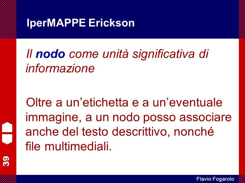 39 Flavio Fogarolo IperMAPPE Erickson Il nodo come unità significativa di informazione Oltre a unetichetta e a uneventuale immagine, a un nodo posso a