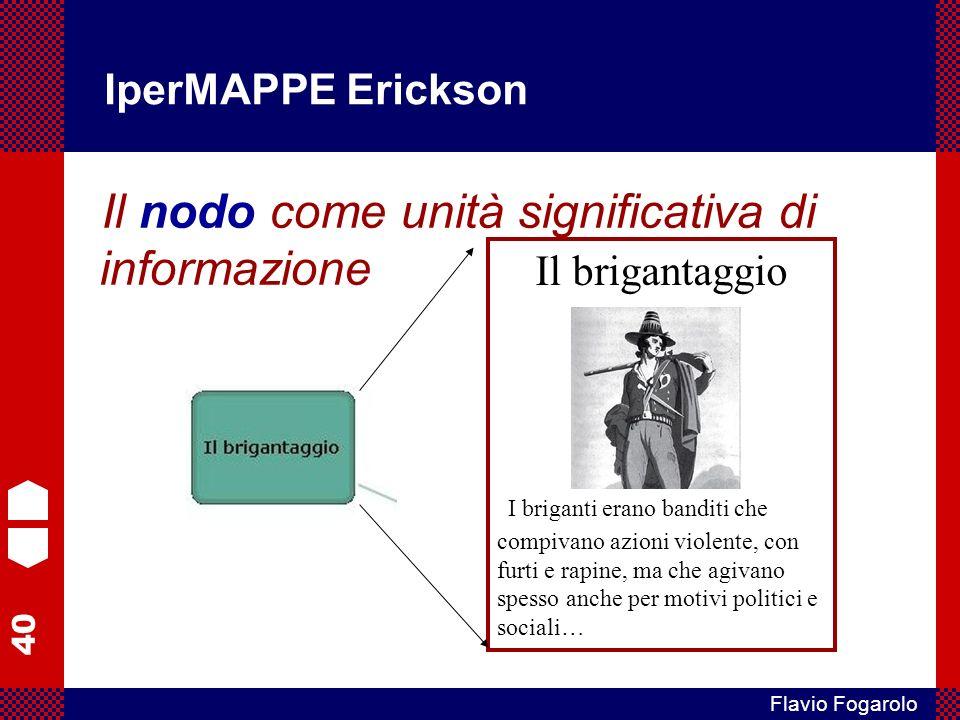40 Flavio Fogarolo IperMAPPE Erickson Il nodo come unità significativa di informazione Il brigantaggio I briganti erano banditi che compivano azioni v